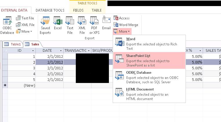 ExportToSharePointList