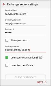 exchange server settings-1