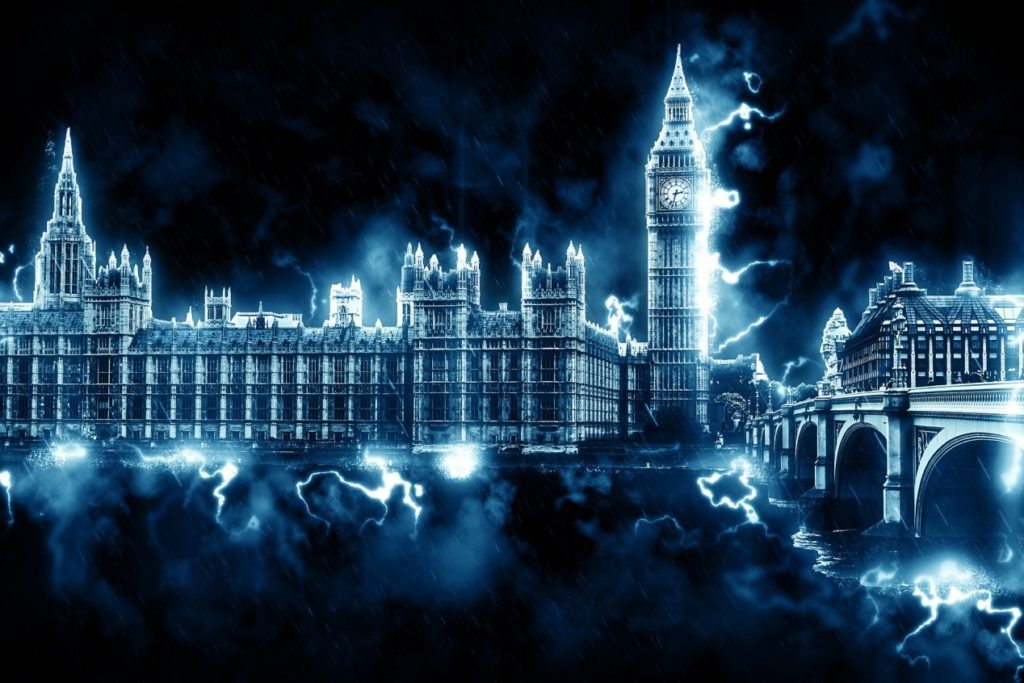 London Parliament in the storm